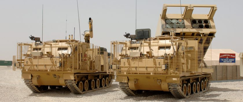 MLRS (Multiple Launch Rocket System) Vehicles at Camp Bastion, Afghanistan
